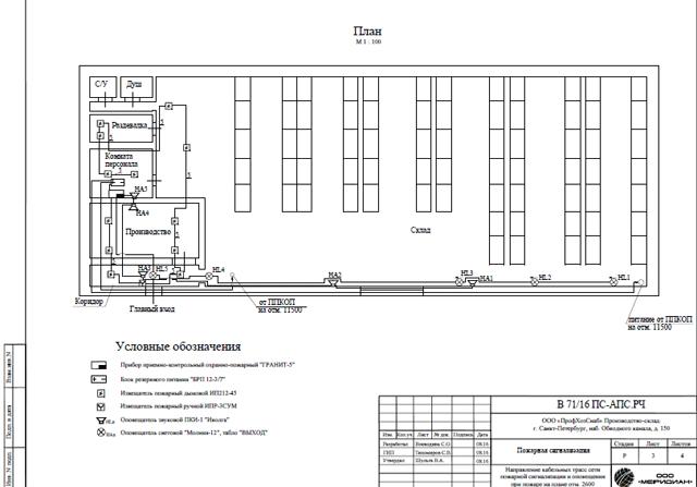 Проект пожарной сигнализации для склада